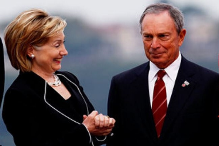 Image result for hillary clinton with mike bloomberg